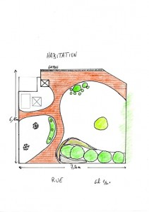 Plan d'un jardin minéral devant une habitation