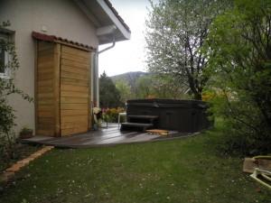 Finalisé ce printemps, le spa et le cabanon finalise cet aménagement