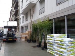 Livraison des matériaux et végétaux